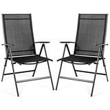 Giantex Set of 2 Patio Dining Chairs, Folding Outdoor Chairs, Portable Camping Chairs with Breathable Fabric, Foldable Chairs with Armrest High Backrest for Garden Patio Pool Beach Yard, Black