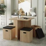 STARTO 5 Piece, Dining Set for 4 with Storage, Faux Wood Table and 4 Ottomans, Beige