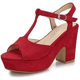 Women's T-Strap Platforms Wedges Sandals Suede Peep Toe Block Chunky High Heels Pumps Red Suede US8 CN39