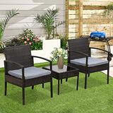 3 PCS Outdoor Patio Furniture Sets,Rattan Chair Wicker Set,Patio Rattan Chair Set,Modern Bistro Set with Coffee Table for Outdoor Indoor Backyard Porch Garden Poolside Balcony (Type2 Brown(3 PCS))