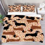 FOLPPLY Dachshund Floral Pattern Duvet Cover Set, California King Bedding Set 3 Pieces, Comforter Sheet Set with Pillow Shams Room Decor for Boys Girls Teens Adults