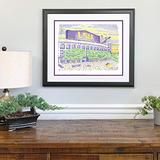 LSU Tiger Stadium Word Art - Framed 22x26 - Handwritten with the scores of every win in history - LSU Gifts & Decor Poster - Tigers Football