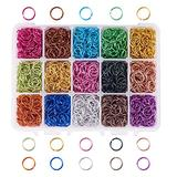PH PandaHall 15 Color 10mm Open Jump Rings, 1950pcs Aluminum Jump Rings for Choker Necklaces Bracelet Chain Maille Chainmail Jewelry Making