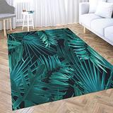 Gesmatic Play Area Rug, Small Area Rug(2X3) Tropical Palm Leaves Stylish Fashion Floral Pattern in Hawaiian Style Oriental Area Rug, Suitable for Living Room, Kitchen, Outdoor