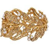 Bamboo Leaf Faux Pearl Hinged Cuff Bracelet In Gold - Metallic - Oscar de la Renta Bracelets