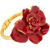Big Bold Painted Rose Hinged Bracelet In Gold - Red - Oscar de la Renta Bracelets