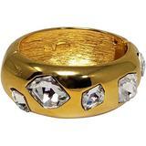 Kjl Chunky Gold Bangle Bracelet With Oversized Clear Crystals - Metallic - Kenneth Jay Lane Bracelets