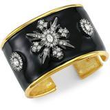 Goldplated, Black Enamel & Crystal Cuff Bracelet - Black - Kenneth Jay Lane Bracelets