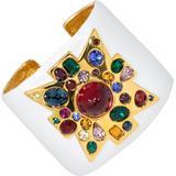 Kjl Jeweled Maltese Cross Enamel Cuff Bracelet, Gold - White - Kenneth Jay Lane Bracelets