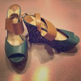 Nine West Shoes   Platform Leopard Print Nine West Wedges   Color: Green/Tan   Size: 9.5