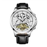 Semdu Mens Watches,Mens Automatic Watch Skeleton Watches for Men,Genuine Leather Strap MoonPhase Dual Time 5ATM Waterproof Mechanical Wrist Watches Gifts for Men (Silver Case-BLK Strap)