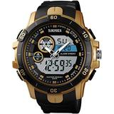 Mens Watches Digital Analog Watch Sports Tactical Waterproof Wrist Dual Time Watch Military Time Electronic Chronograph Alarm Clock Large Screen Gold