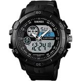 Mens Watches Digital Analog Watch Sports Tactical Waterproof Wrist Dual Time Watch Military Time Electronic Chronograph Alarm Clock Large Screen Black