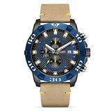 MEGIR Chronograph Blue Leather Watch, Mens Watches Waterproof Analogue Quartz Watch Men Luminous Stainless Steel Wrist Watch (Blue)