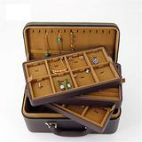 Three-Layer Leather High-end Jewelry Jewelry Ring Jewelry Watch Storage Box (Color : Yellow)