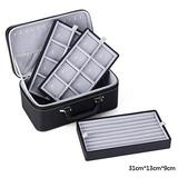 Three-Layer Leather High-end Jewelry Jewelry Ring Jewelry Watch Storage Box (Color : Gray)