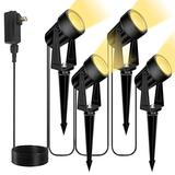 12W Landscape Lights Low Voltage Landscape Spotlights 46Ft IP65 Waterproof Outdoor Landscape Lighting Garden Pathway Light with Spike Stand and Plug for Patio Lawn, 3000K Warm White (4 Pack)