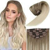 Blonde Human Hair Clip in Extensions Ombre 24inch Balayage Ombre Light Brown to Platinum Blonde Human Clip in Hair Extensions Straight Remy Clip on Blonde Extensions 120g 7Pcs