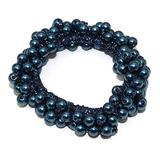 Woman Elegant Pearl Hair Ties Beads Girls Scrunchies Rubber Bands Ponytail Hair Accessories Elastic Hair Band color 2