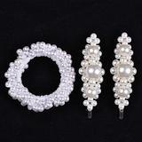 Woman Elegant Pearl Hair Ties Beads Girls Scrunchies Rubber Bands Ponytail Hair Accessories Elastic Hair Band set 18