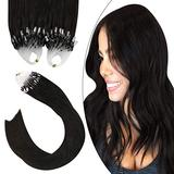 """Ugeat Micro Beads Hair Extensions Human Hair Remy Brazilian Human Hair Extensions 18"""" Microlinks Hair Extensions Dark Brown Color #2 Pre-Bonded Tipped Hair 1g/1strand 100G/Set"""