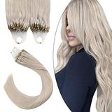 Ugeat 24 Inch Micro Loop Remy Human Hair Extensions Micro Links Hair Extensions Color #60A White Platinum Blonde 100 Grams Remy Human Hair Extensions 1G/1Strand 100G/Set