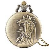 Akopiuto 3D Horse Face Floral Rattan Pocket Watch Necklace Pendant Souvenir Birthday Gifts for Men Women Kid