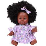 KUMADAI 14 inch Reborn Baby Doll Black, Full Silicone Vinyl Body African American Baby Reborn Realistic Newborn Baby Doll Girl Boy Toys,Girl Purple