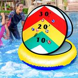 "LONYKIBEE Pool Toys Teens Adult Water Splash Stick Ball Toss Game,24"" Floating Pool Ring Toss Game Inflatable Swimming Pool Ring Toys for Kids Outdoor Water Sport Games with 6pcs Balls for Pool Party"