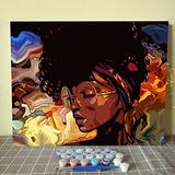 Paint by Number African American DIY Acrylic Painting Paint by Number Kit for Kids Adults Students Beginner Indian american DIY Canvas Painting by Numbers Painting Arts Craft Frameless 16x20 Inch