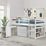 Loft Bed with Desk, Twin Loft Bed for Kids and Teens, Low Loft Bed Frame, Saving-Space Design, White