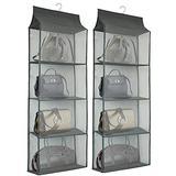 Dearjana Closet Handbag Purse Holder, Space Saving Hanging Handbag Storage Tote Bag Organizer Holder with 4 Large Heavy-Duty Mesh Shelves for Wardrobe Closet(Pack of 2 Gray)