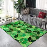 Modern Carpet Size Green Rectangle Pattern Indoor Outdoor Area Rugs Soft Touch Small Rugs Living Room Bedroom Runner Rug for Kitchen Home Decor,Green,4' x 6'