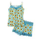 Women Lace Trim Pajamas Set St. Patrick's Day Cami Shorts Lingerie Camo Sunflower Leopard Butterfly Camisole Sleepwear