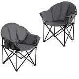 Giantex Set of 2 Portable Camping Chair, Moon Saucer Chair, Outdoor Folding Chair with Soft Padded Seat, Lawn Chair with Cup Holder and Carry Bag (Grey)