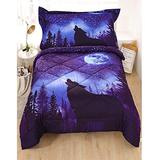 Wowelife Wolf 4 Piece Toddler Bedding Set, Toddler Comforter, Flat Sheet, Fitted Sheet and Pillowcase, Green(Blue)