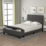 P PURLOVE Full Upholstered Linen Platform Bed with Headboard Storage Bed Frame with Storage Case for Living Room Bedroom, No Box Spring Need