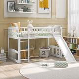 Twin Size Loft Bed for Kids, Space-Saving Loft Bed Frame with Reversible Slide and Safety Rail Ladder, Teens Bedroom Bed, Guest Room Furniture, White