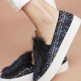 Anthropologie Shoes | Anthropology Slide On Casual Shoe Blue Tweed Wfur | Color: Blue/White | Size: 7