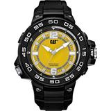 Cat Tessellate Black Men Watch, 45 mm case, SS case, Black Strap, Yellow dial