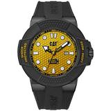CAT Shockmaster Black Men Watch, 48 mm case, Yellow face, Date Display, Black ss case, Black Strap, Yellow dial (SF.161.21.711)