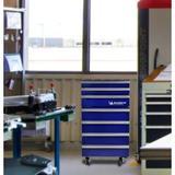Koolatron Michelin Tool Chest w/ Built-in Tool Storage For Garage Or Shop 1.8 cu. ft. Freestanding Mini Fridge Stainless Steel   Wayfair in Blue/Gray