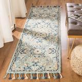 Bungalow Rose Jahiem Handwoven Flatweave Wool Blue/Ivory Area Rug in White, Size 144.0 H x 27.0 W x 0.63 D in   Wayfair