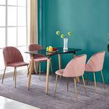 Mercer41 Perce Tufted Velvet Cross Back Dining Chair in PinkUpholstered/Velvet in Gray/Green/Pink, Size 31.0 H x 22.0 W x 18.0 D in | Wayfair