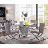 Orren Ellis Anndria 5 - Piece Dining Set Glass/Metal/Upholstered Chairs in Gray, Size 30.0 H x 52.0 W x 52.0 D in | Wayfair
