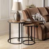 17 Stories Antique Metal Living Room Nesting Coffee Table, Stacking Coffee Table Nesting Round Side Table, Modern Wood Grain Appearance | Wayfair