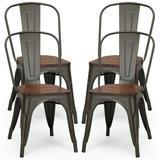 Trent Austin Design® Sau Slat Back Stacking Side Chair Wood/Metal in Gray/Black, Size 33.0 H x 17.0 W x 21.0 D in   Wayfair