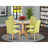 Alcott Hill® Robbin 5 - Piece Drop Leaf Solid Wood Rubberwood Dining SetWood/Upholstered Chairs in Brown, Size 29.5 H in | Wayfair