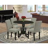 Charlton Home® Schlemmer Drop Leaf Rubberwood Solid Wood Dining Set Wood/Upholstered Chairs in Brown, Size 29.5 H in   Wayfair