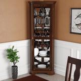 Astoria Grand Baysden Corner Curio Cabinet Wood/Glass in Brown/Red, Size 72.0 H x 27.5 W x 17.25 D in | Wayfair ATGD1537 38255230